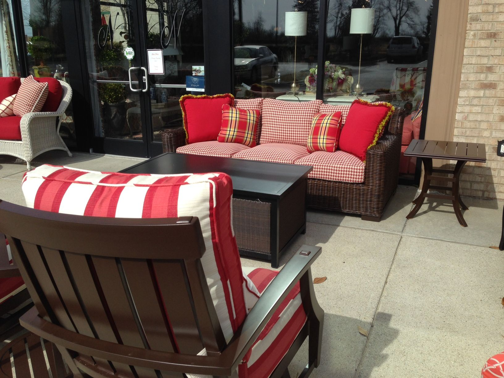 The Rustic Wicker sofa in red/white houndstooth...love it!!