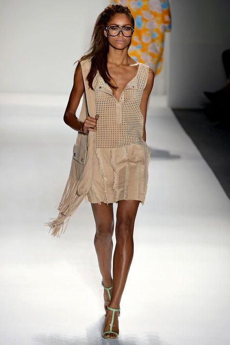 Tracy Reese Spring 2013 // Perforated Taupe Dress and Fringe Bag (nerd glasses?)