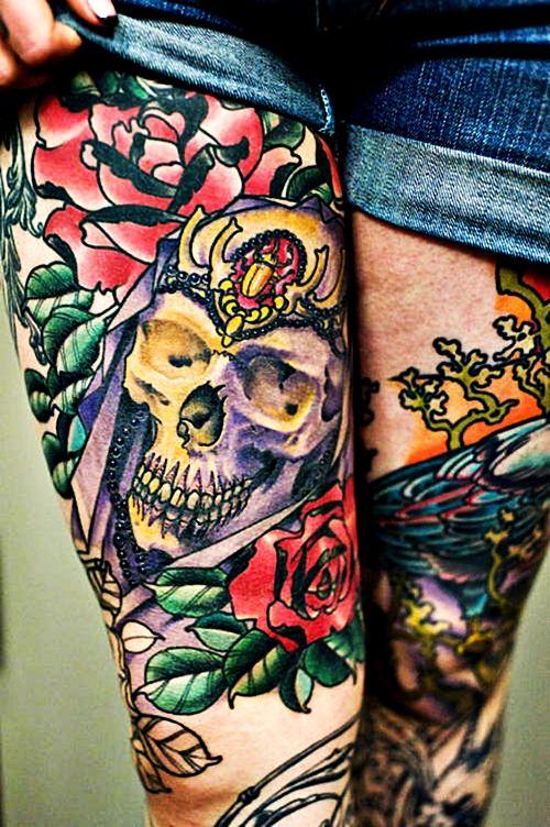 Pin De Natalia Alvarez En Tattoos Piercings Gallery Tatuajes Muslo Femenino Tatuajes De Calavera En El Muslo Tatuajes Muslo