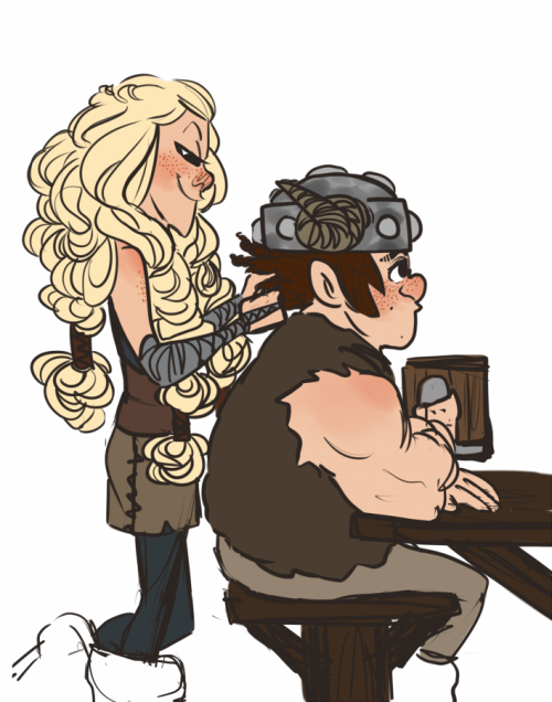 Ruffnut braiding Snotlout's hair, similar to Astrid braiding Hiccup's hair. Snotlout doesn't look enthusiastic about it. lol XD