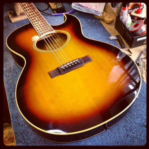 Guitar Washburn Acoustic 1970s In For Bridge And Electrics Repair Washburn Acoustic Electric Repair Acoustic Guitar