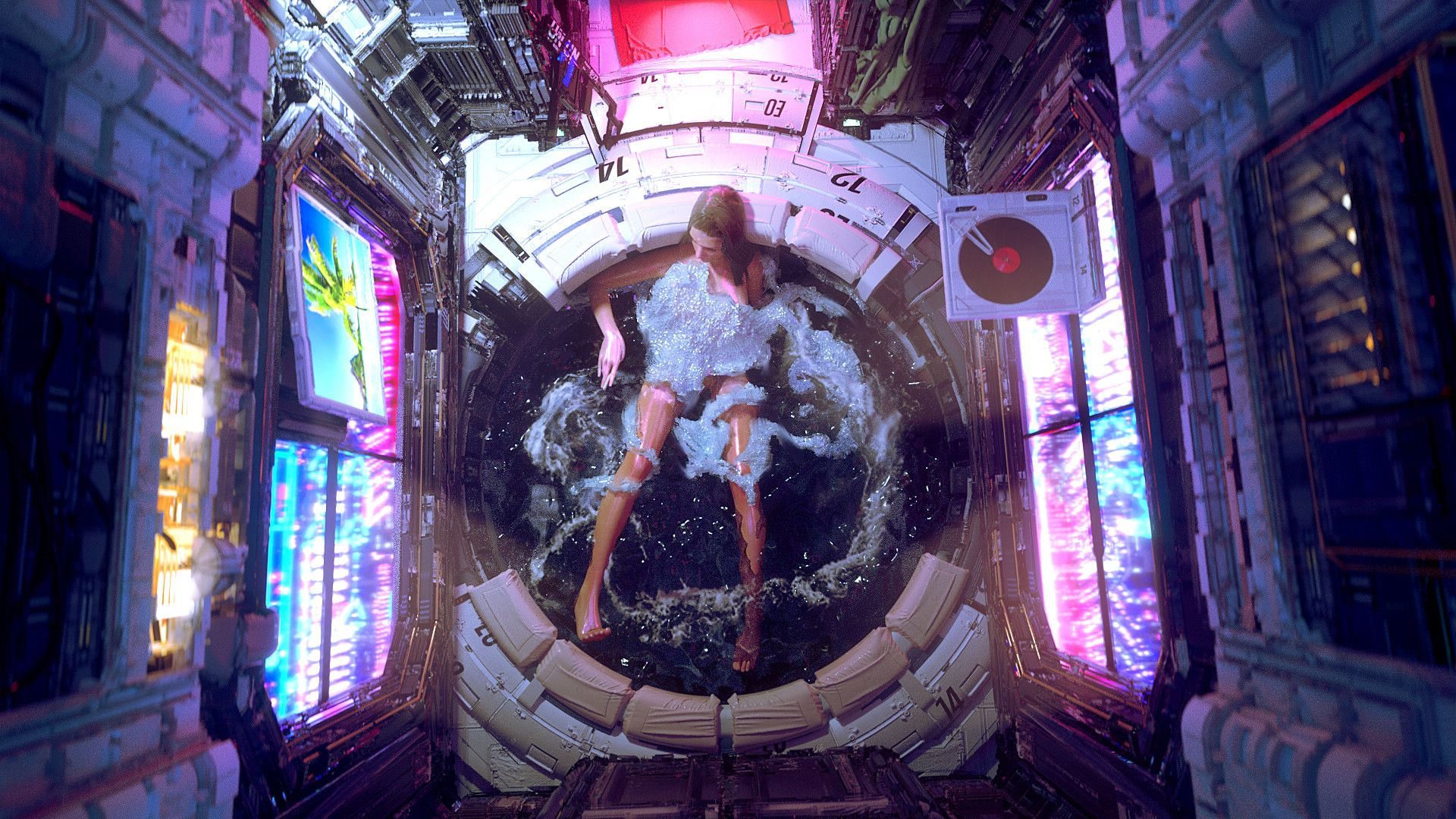 """One of These Nights by Federico Pelat """"Inspired by Klaus wittmanns very cool illustration, Bath 2077."""""""