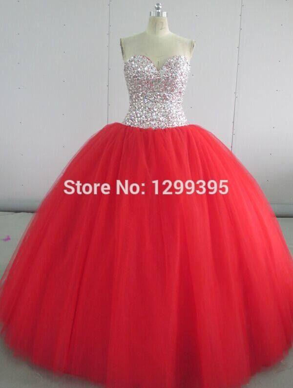 fd4419399153d Red Cheap Quinceanera Dresses Prom Dress Bling Corset Princess Prom ...