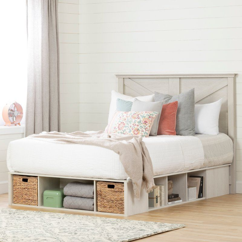 Pale Gray Queen Platform Storage Bed With Baskets Avilla Space