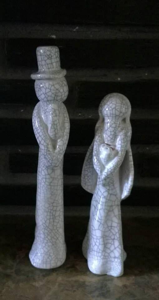 Bride and Groom ceramic figure's by MartinONeillceramics on Etsy, £40.00