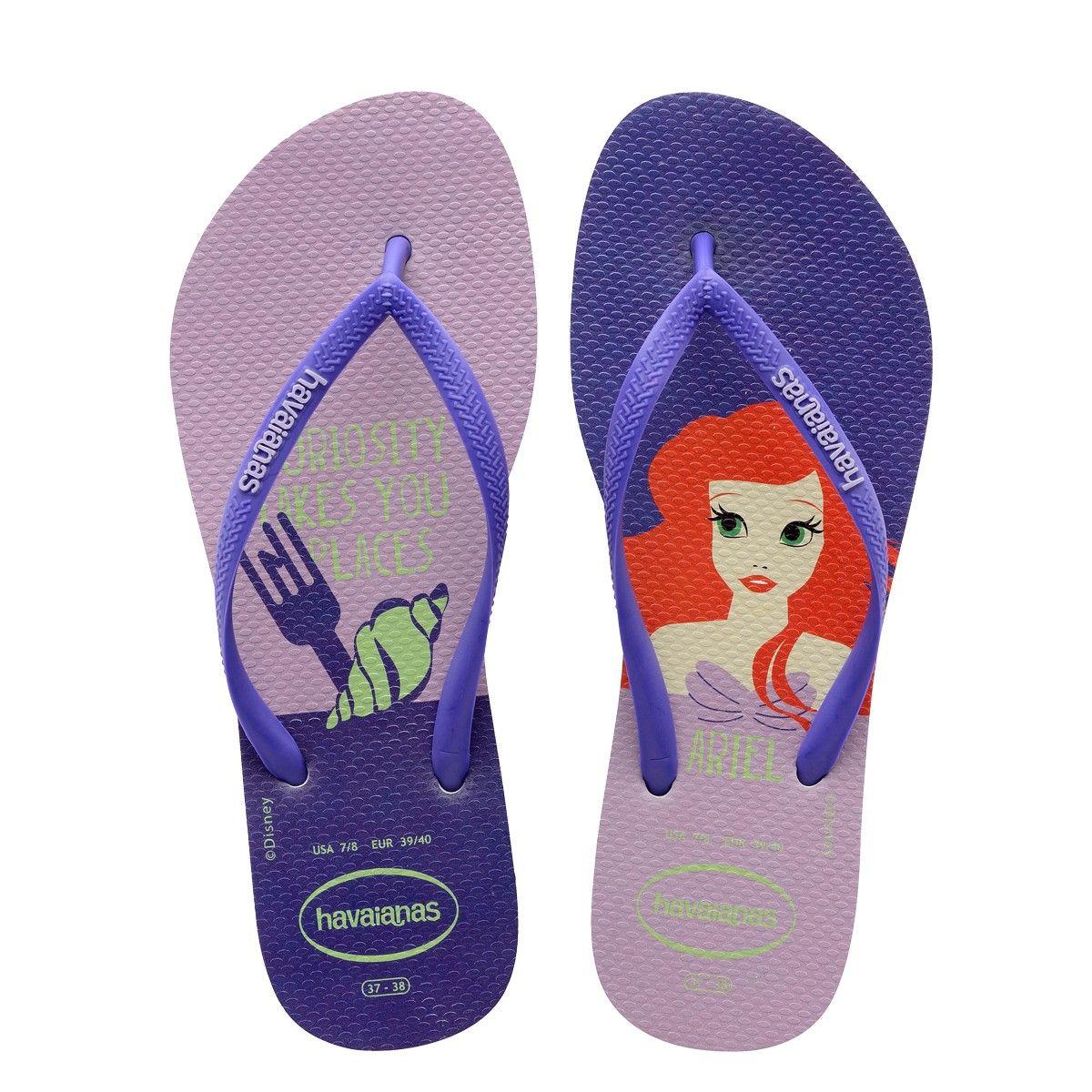 090c3cc0c Havaianas Slim Princesas Disney's Ariel Flip Flops Purple - 6 in ...