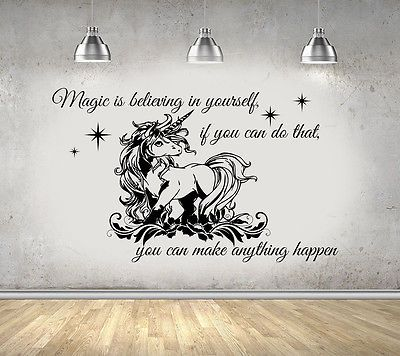 unicorn with quote girls bedroom large wall art sticker decal uk