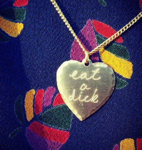 Eat a Dick heart pendant necklace