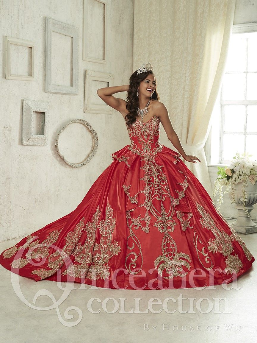 ee4f85ca447 Gold And Red Quinceanera Dresses Embroidery For 15 Year Girl Ball Gown Sweetheart  Bead Ruffles Sweet 16 Dress Party Gown-in Quinceanera Dresses from ...