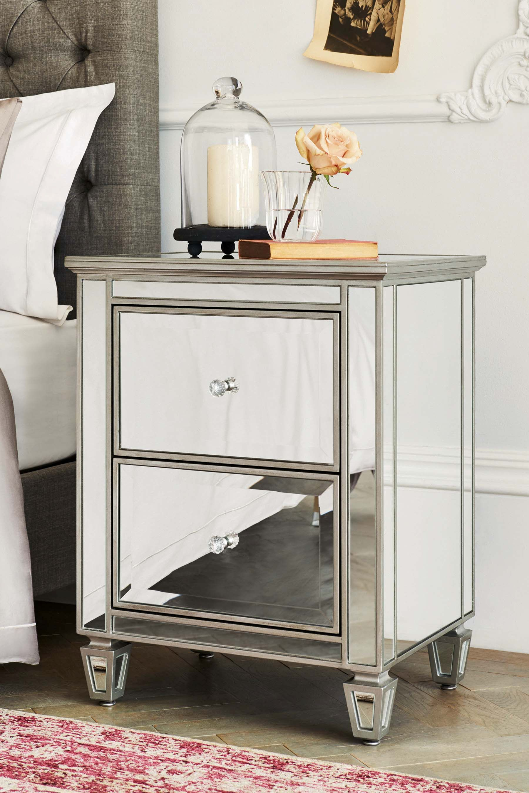 Mirrored Bedside Table With Drawers: Next Fleur 2 Drawer Bedside Table - Silver