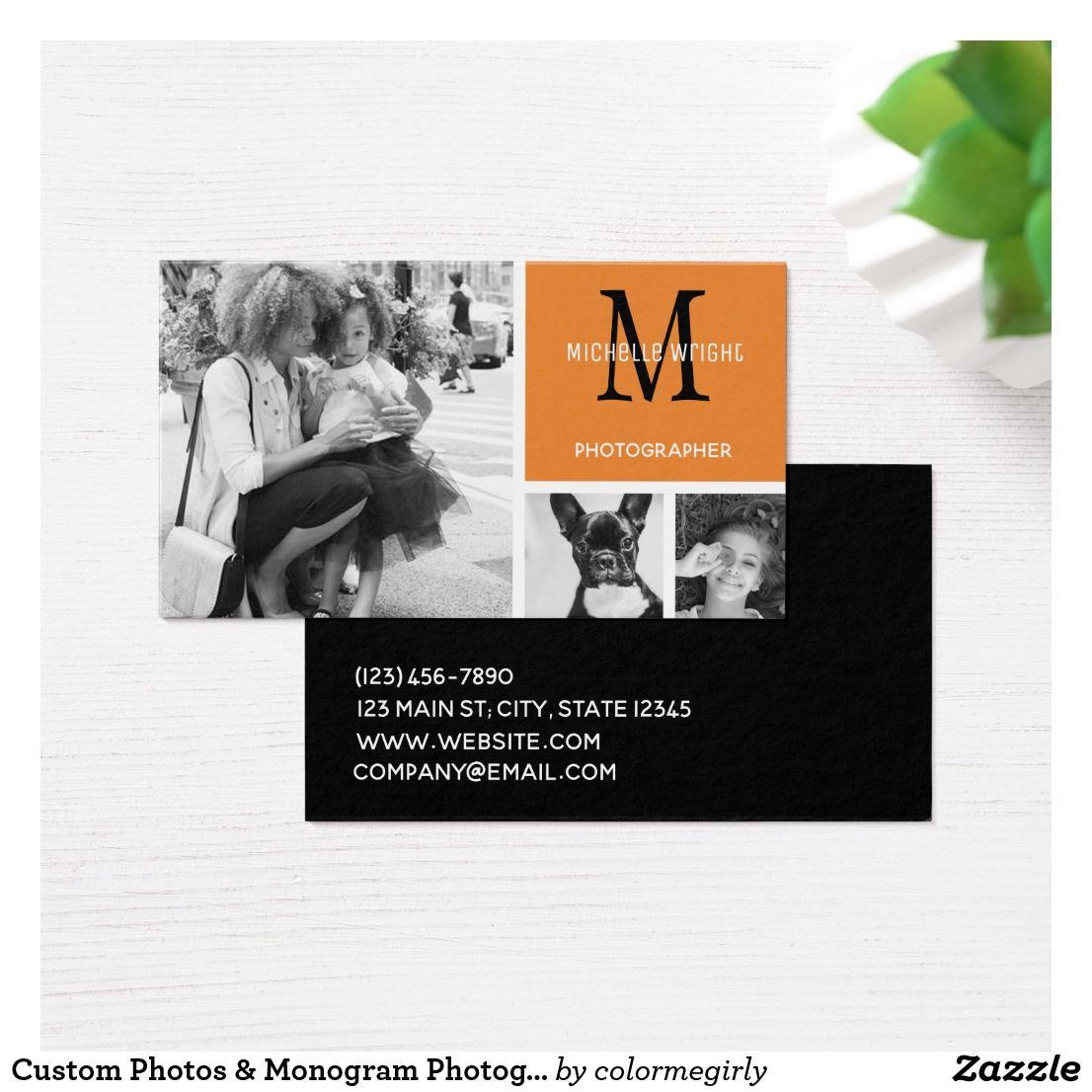 Custom Photos & Monogram Photographer Business Card | Photographer ...