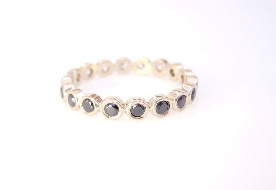 Gold Black Diamonds Eternity Wedding Ring Band by EmStudio9