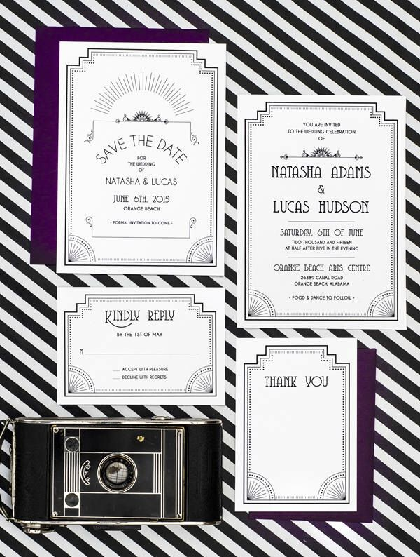 Art Deco Old Hollywood Wedding Invitation Printable Set of 4 by ...