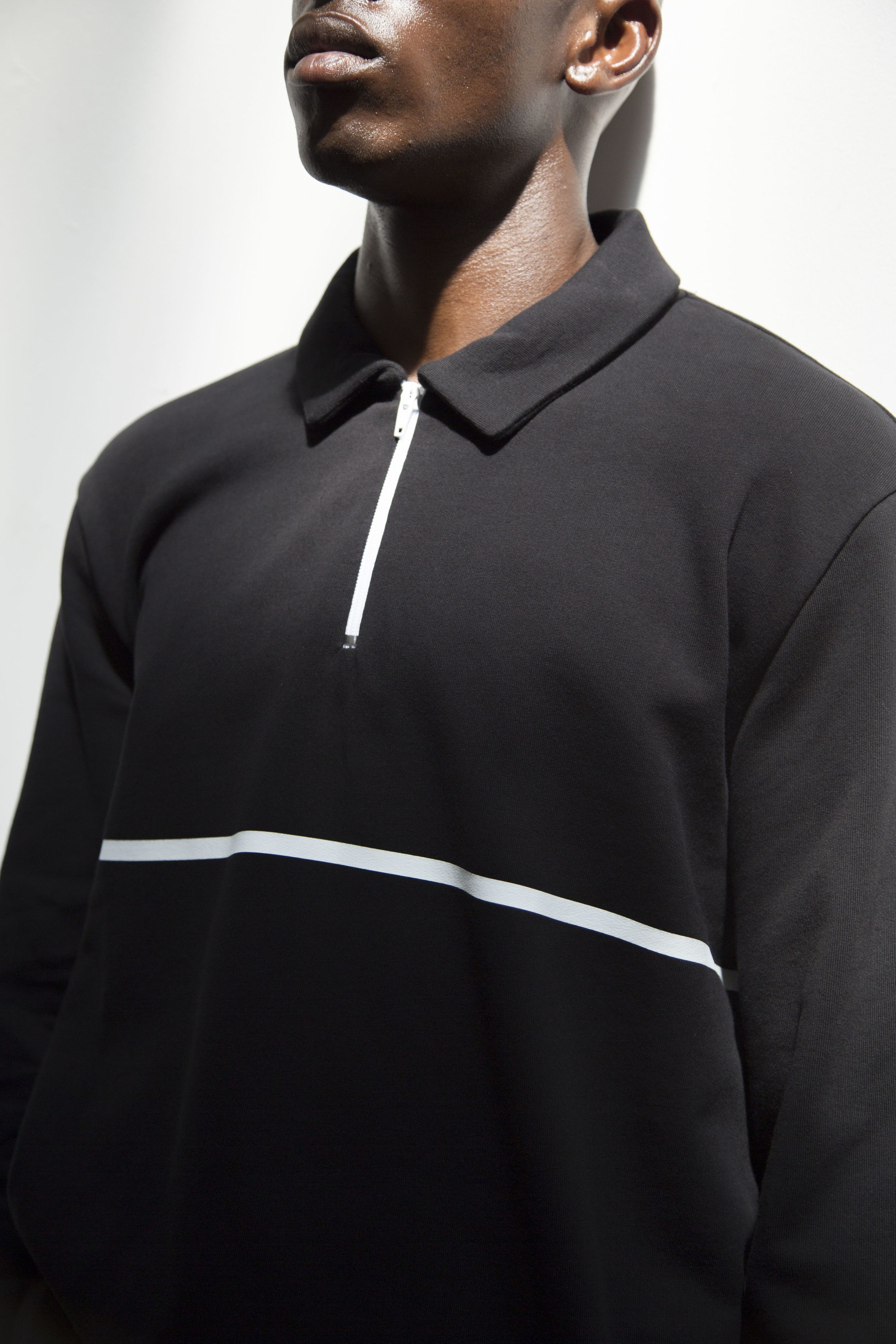 00225b32 COLLAR SWEAT LINE Polo -Sweatshirt Black Loopback cotton-jersey Crew ...