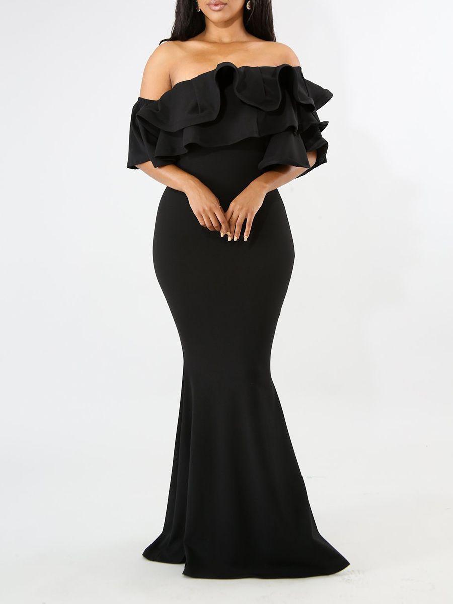 0b93d2195e jersivy.com SUPPLIES Off Shoulder Falbala Fishtail Women s Dress Maxi  Dresses