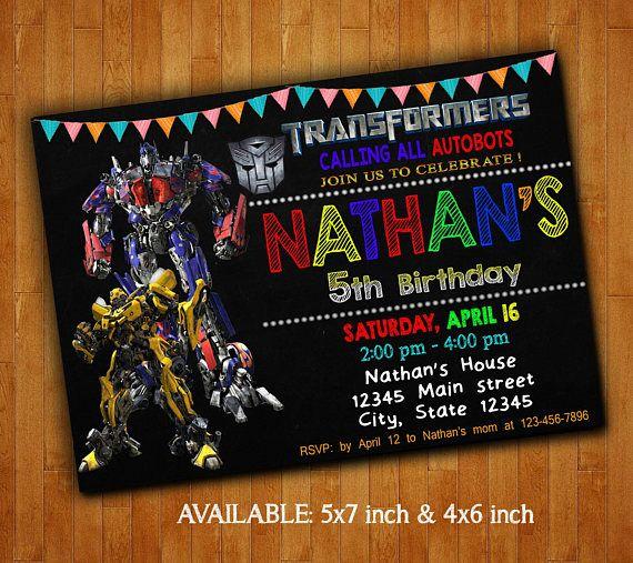 Transformers Invitations Transformers Birthday Party 5th Birthday