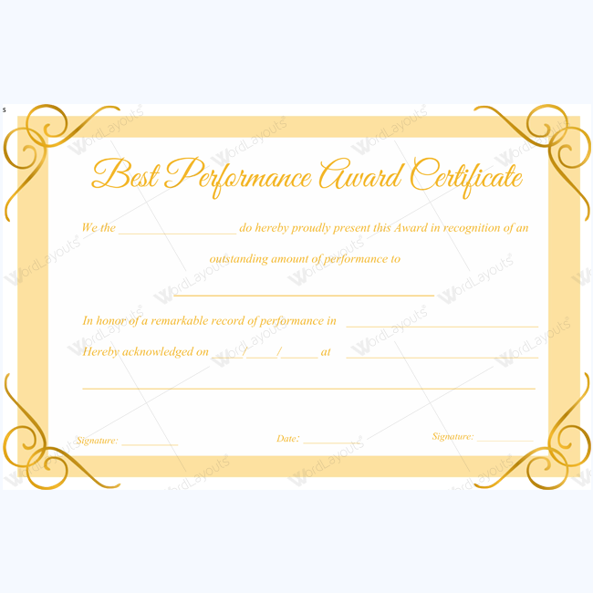 Best performance award certificate 11 certificate teacher and best performance award certificate 11 word layouts certificate templates yadclub Choice Image