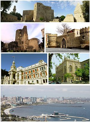 Baku From Top Left To Right Shirvanshah S Palace Maiden Tower Walled City Mayoralty Of Baku Ismailiyya Building And Bak Walled City Tower Bridge Europe