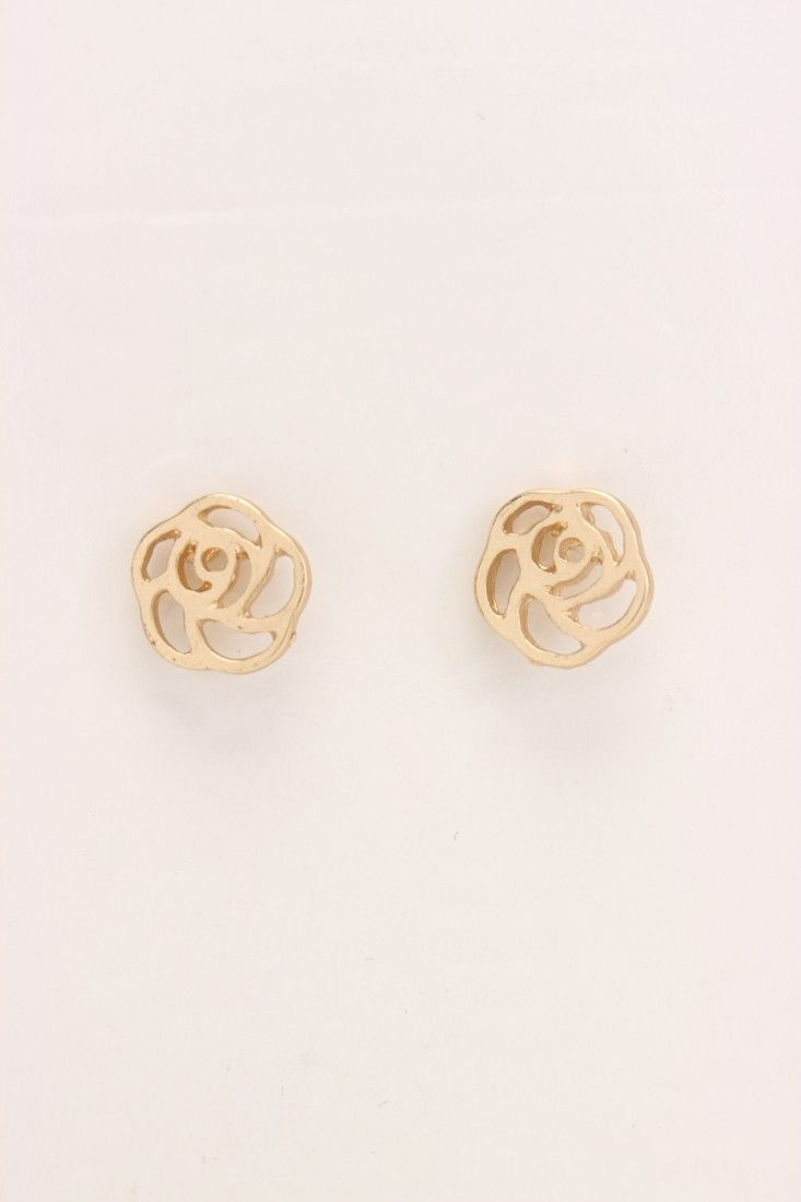 Give your get-up a dose of instant glamour by adding these darlin earrings into the mix. Boasting a high polished metal finish, these cut out flower charm earrings are complete with post lock closures. Because a fab fashionista such as yourself, knows the importance of simple accessorizing!