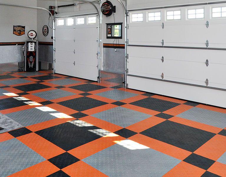 Harley Davidson Garage Flooring In 2020 Harley Davidson Harley Garage Floor Tiles