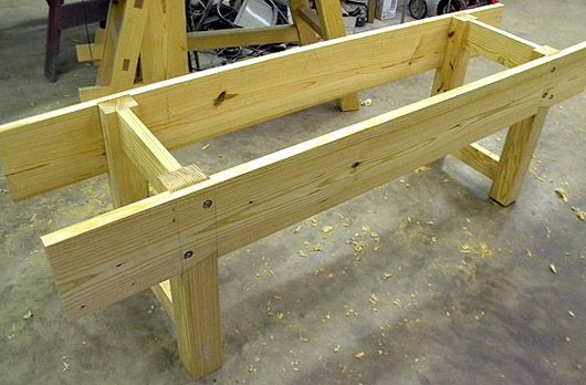 Nicholson Style Bench Designs Shallow Leg Dados In The Wide Skirt Boards Make This An Extremely Stable Be Workbench Woodworking Bench Plans Woodworking Bench