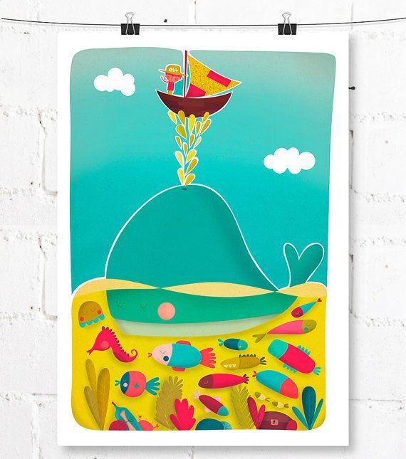 Lámina | Print | Ilustración infantil | Decoración infantil | Arte para niños | Navegando
