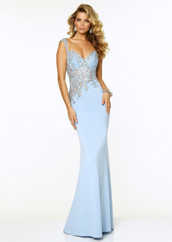 Light Blue Sheer Beaded Straps Sexy Jersey Fitted Prom Dress ...