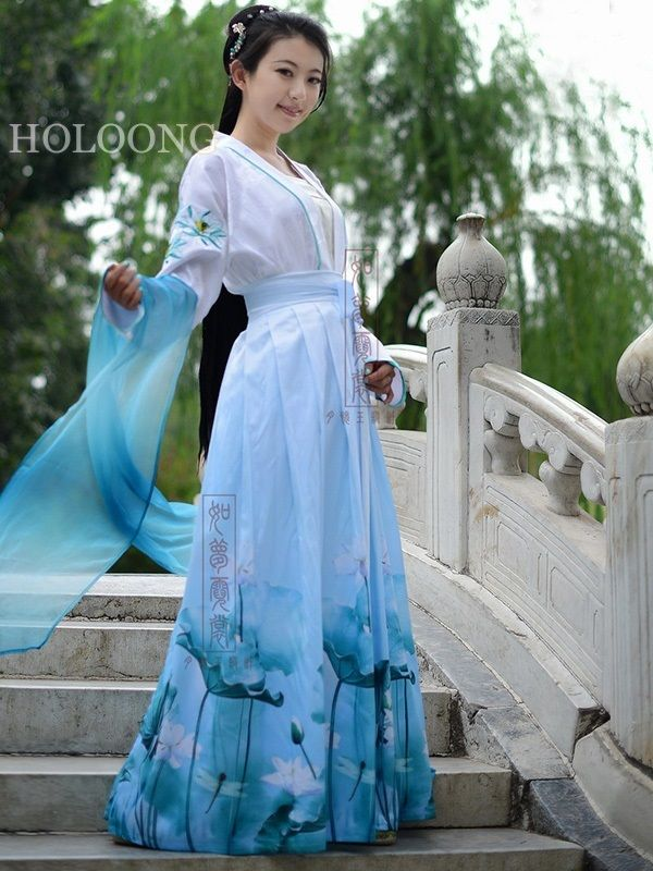 1f7097a93 Custom Lotus flower skirt Ancient china clothing Traditional chinese Women  Hanfu Dresses