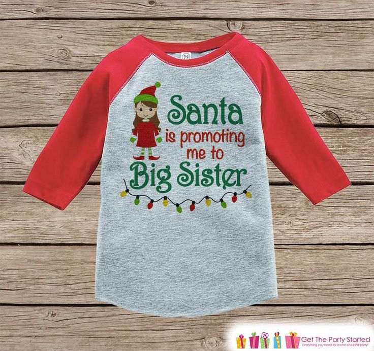 aa076cdbf3e2d Big Sister Christmas Outfit - Pregnancy Announcement Onepiece or Shirt - Holiday  Elf Shirt for Girls - Big Sister Little Sister Outfits