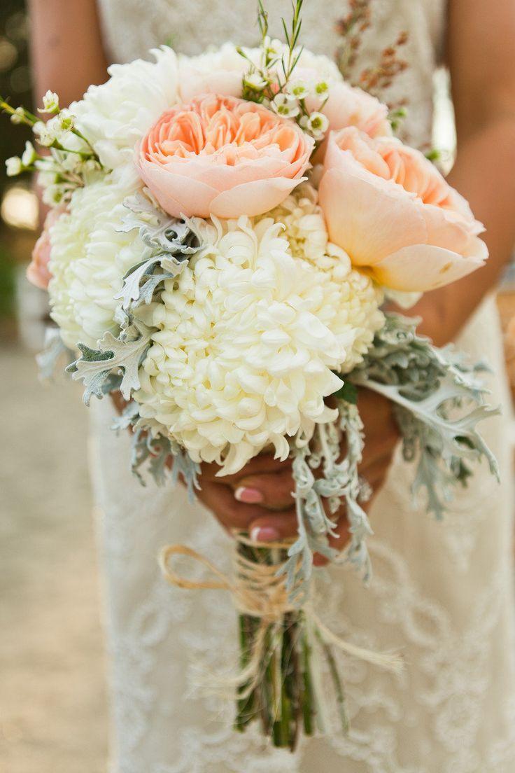 Lovely Bride Bouquet Made Of Creamy White Football Mums Peach Julian Garden Roses Wax Flowers Dusty Miller