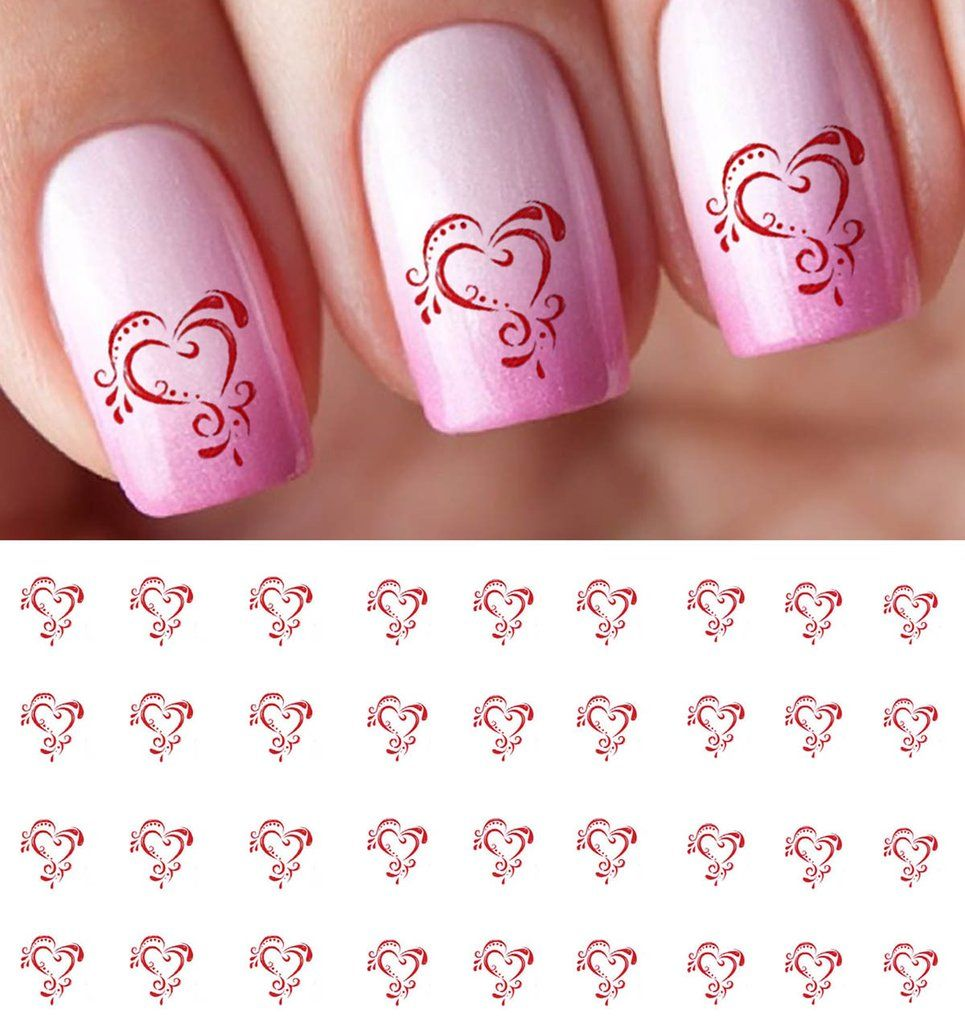 Ornate Heart Decals | Nail decals