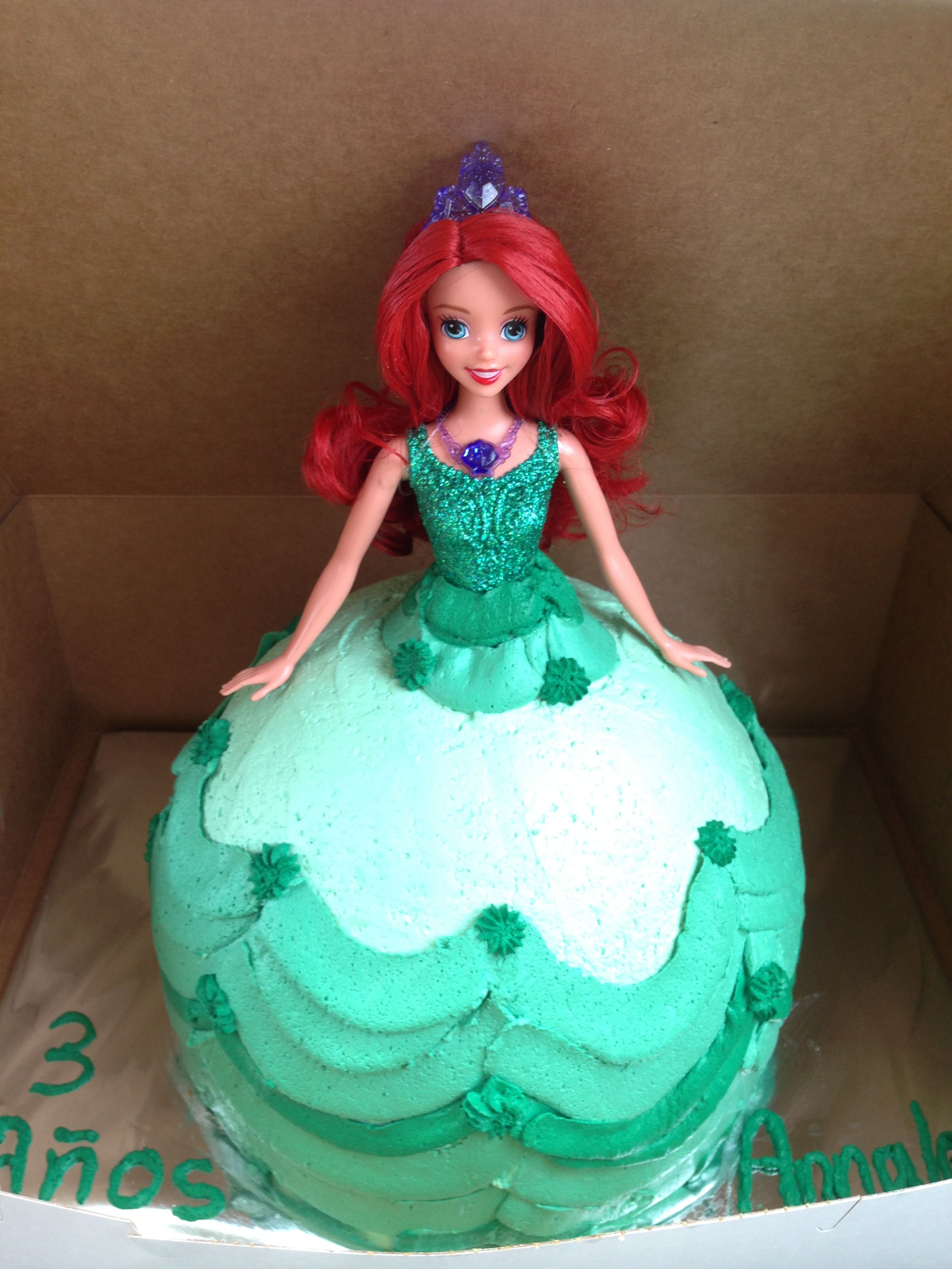 Incredible My Little Girl 3 Year Old Little Mermaid Princess Birthday Cake Funny Birthday Cards Online Fluifree Goldxyz