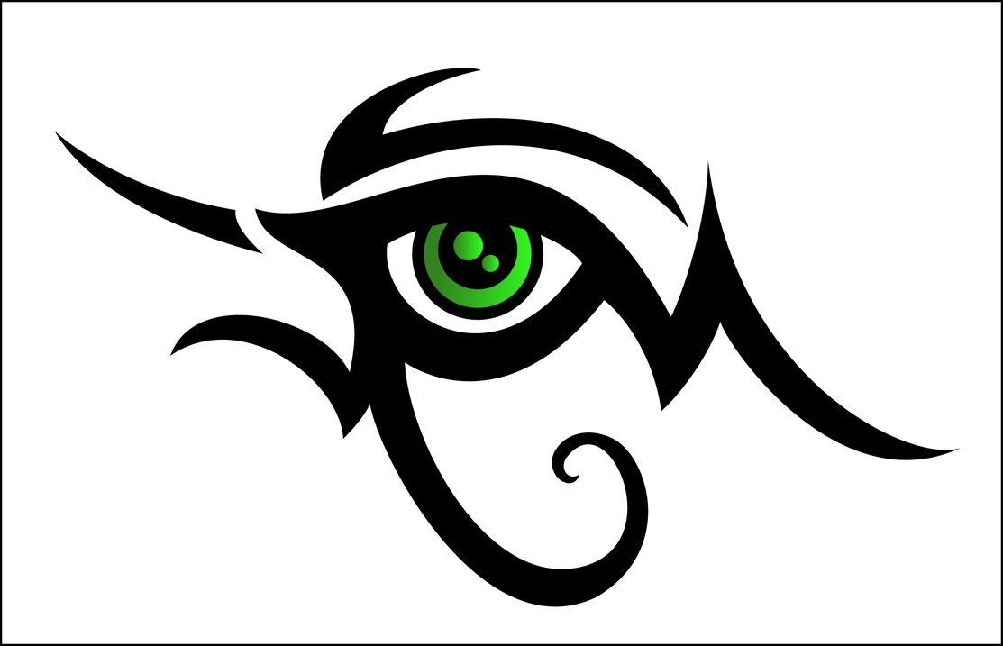 Nice Tribal Horus Eye With Green Eyeball Tattoo Design Eye Tattoo Egyptian Tattoo Tribal Drawings