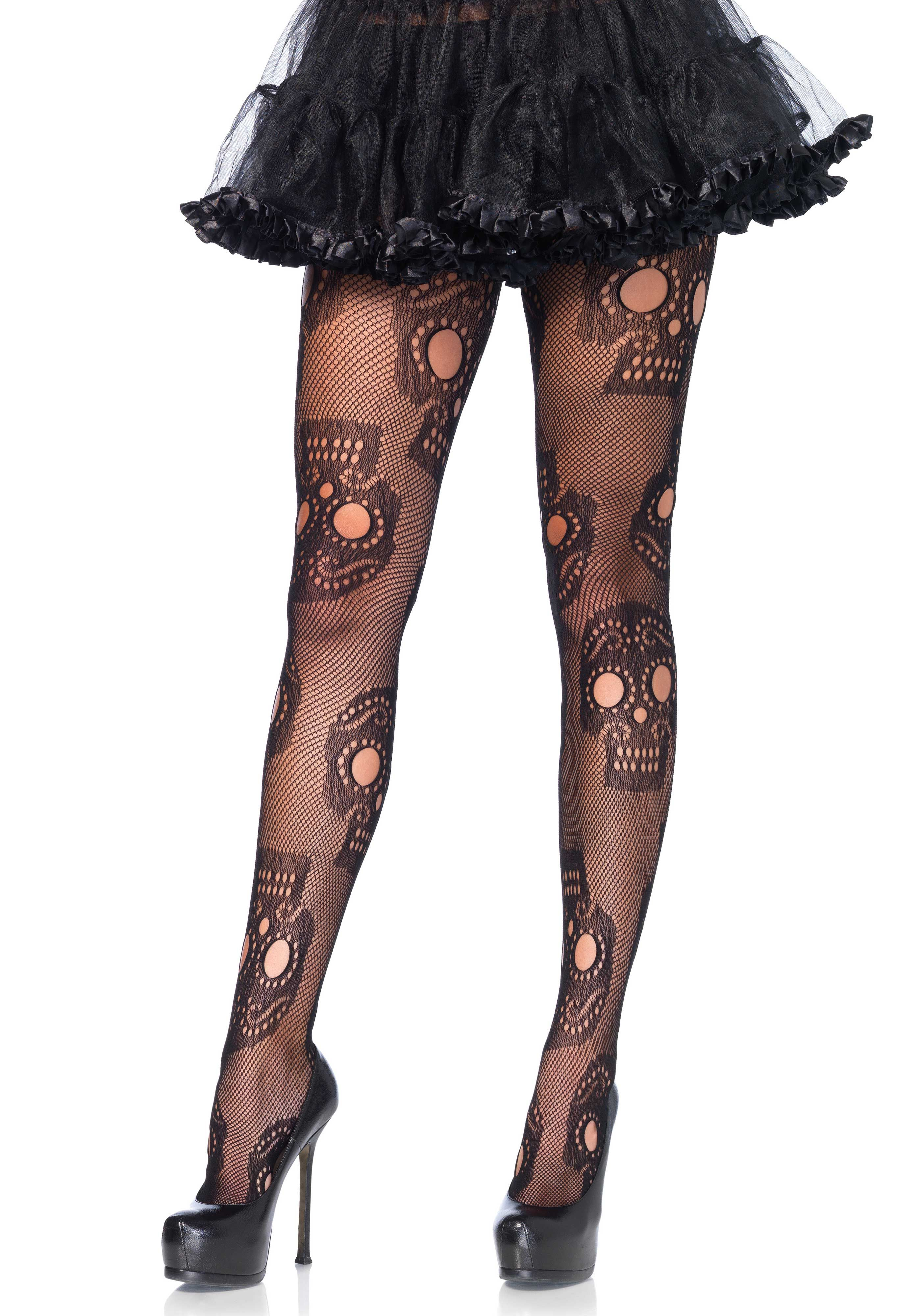One Size Halloween Opaque Day of The Dead Tights