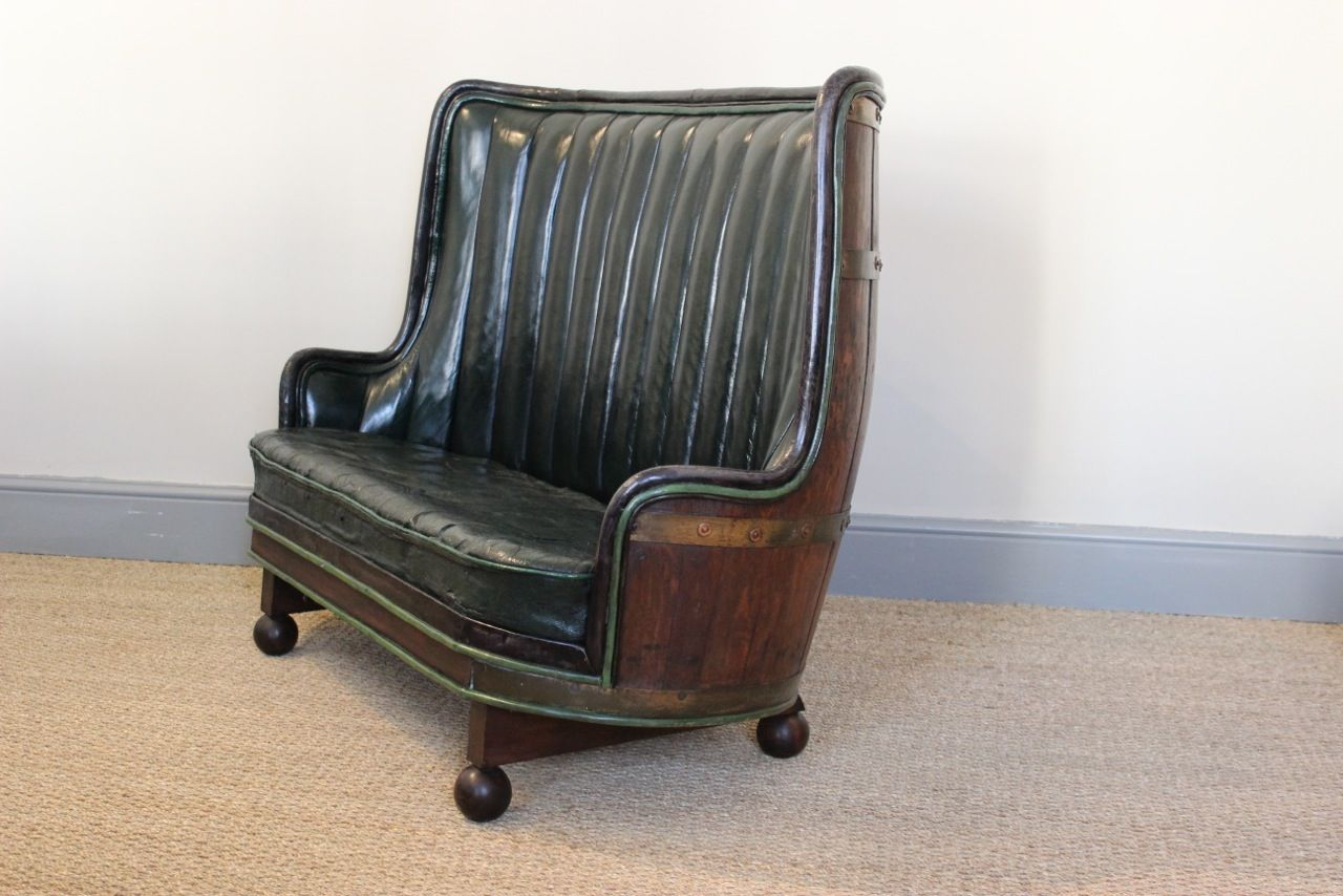 Phenomenal Very Unusual Circa 1930S Spanish Oak Barrel Sofa In Leather Machost Co Dining Chair Design Ideas Machostcouk
