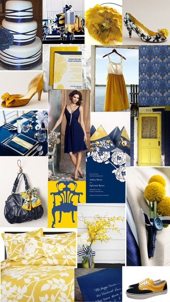 Navy Blue And Yellow Wedding By At Geneviève Eskenaziève Eskenaziève