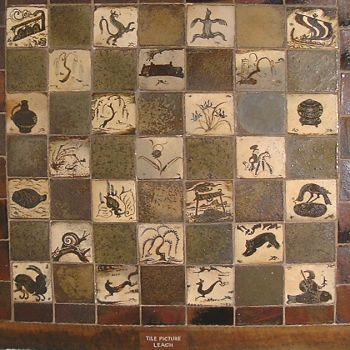 Panel of small tiles by Bernard Leach (1929).