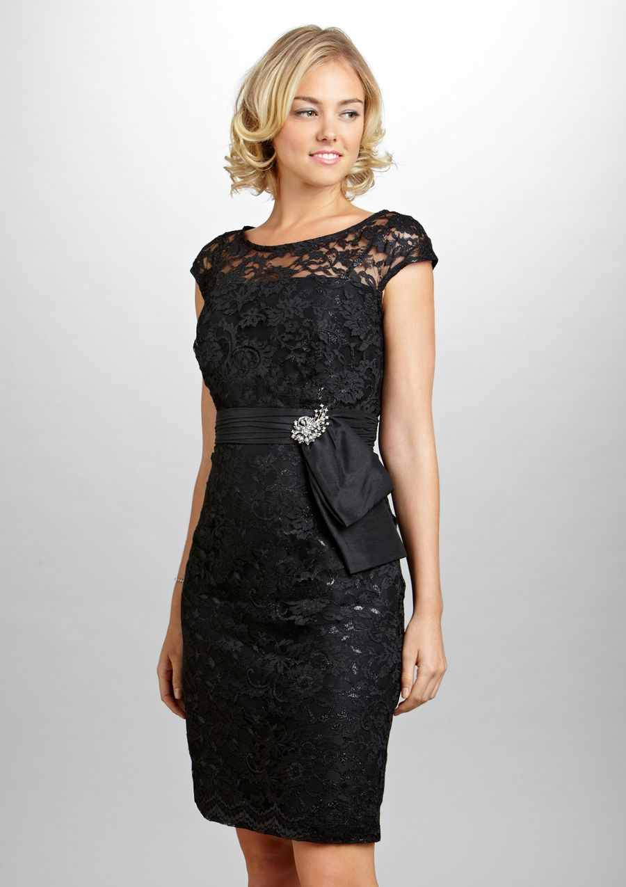 Tasteful Black Cocktail Dress With Lace Detail And A Little Bling By KM Collections Mother