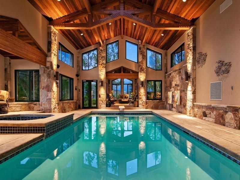 Home indoor pool and hot tub  Craftsman Swimming Pool with Exposed ceiling beams, Indoor swimming ...