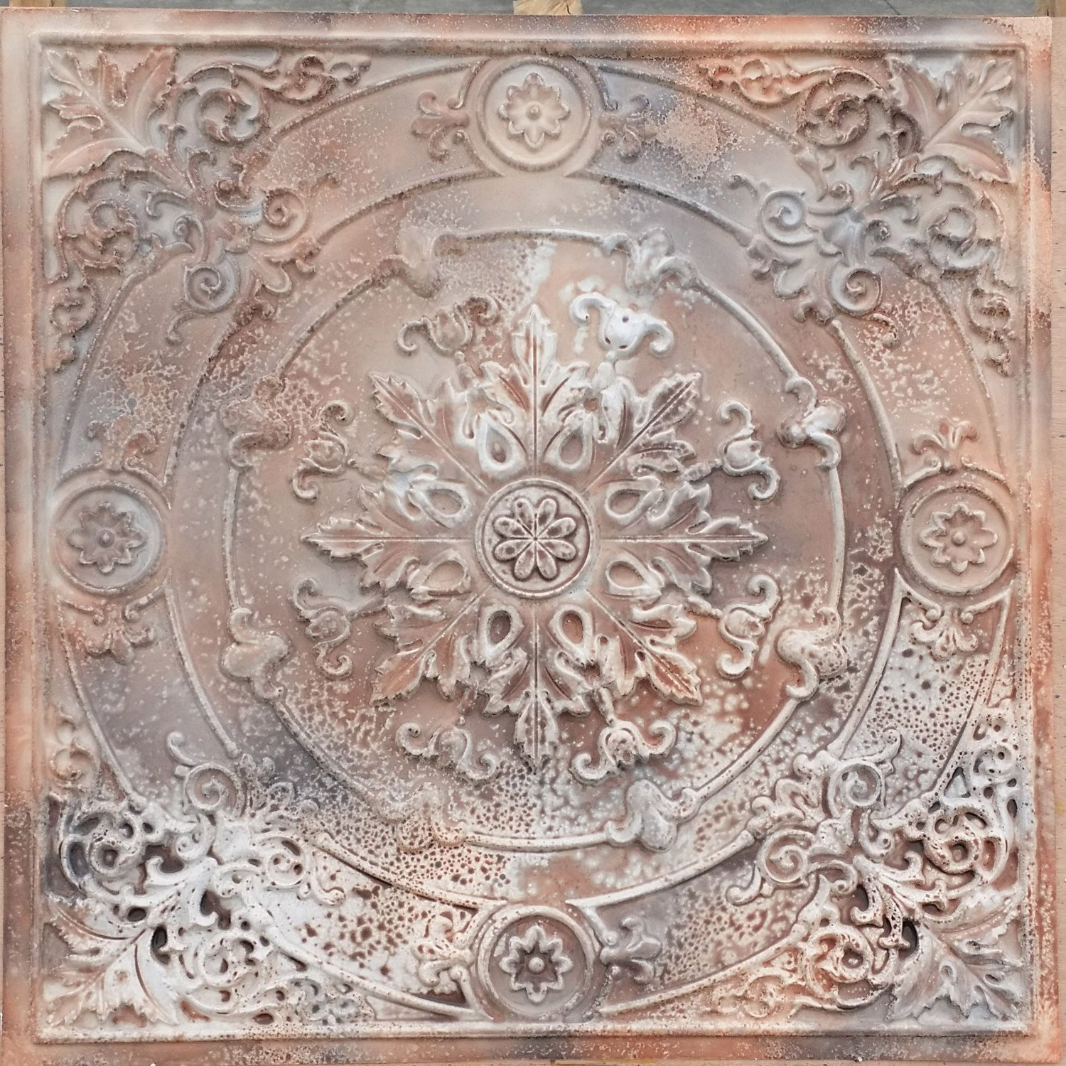 pl18 faux painted tin mixed media art 3d embossed ceiling tiles