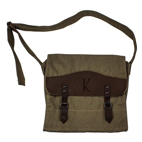 Cathy'S Concepts Monogram Messenger Bag ($59) ❤ liked on Polyvore featuring bags, messenger bags, canvas courier bag, canvas bag, utility bag, brown messenger bag and canvas messenger bag