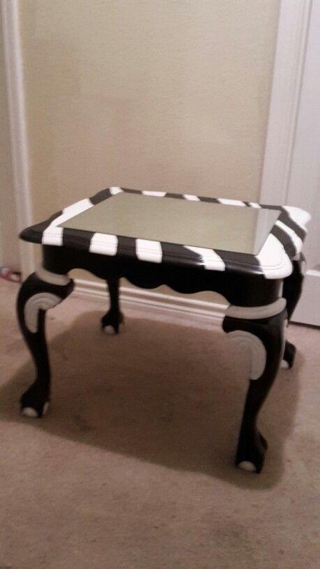 Zebra Striped End Table