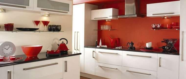 Idee per arredare la cucina in bianco e rosso | Full color ...