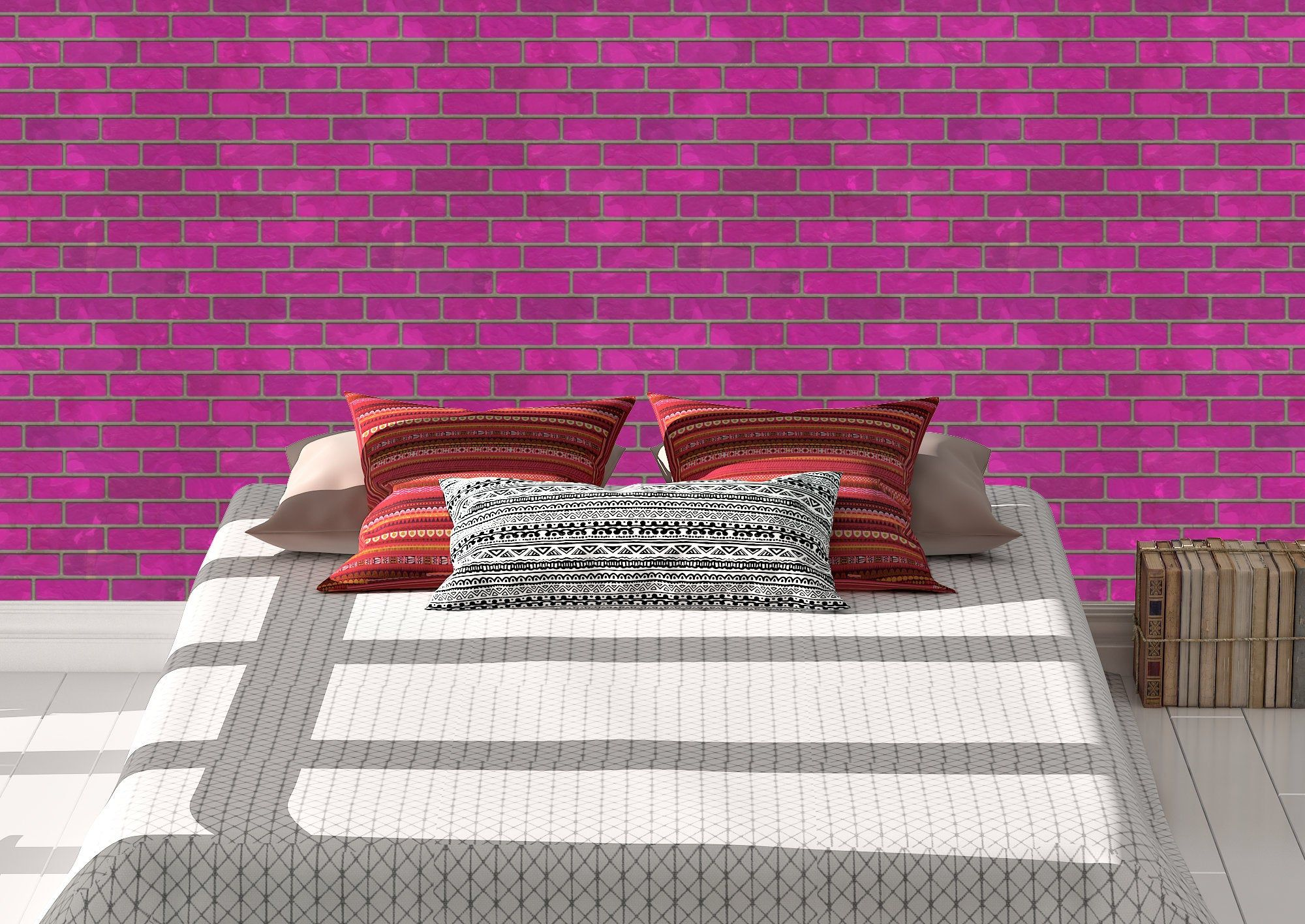 Pink Brick Wallpaper Peel And Stick Removeable Repositionable Wall Decor Art By Whizbangwallpaper Brick Wallpaper Peel And Stick Brick Wallpaper Wall Art Decor
