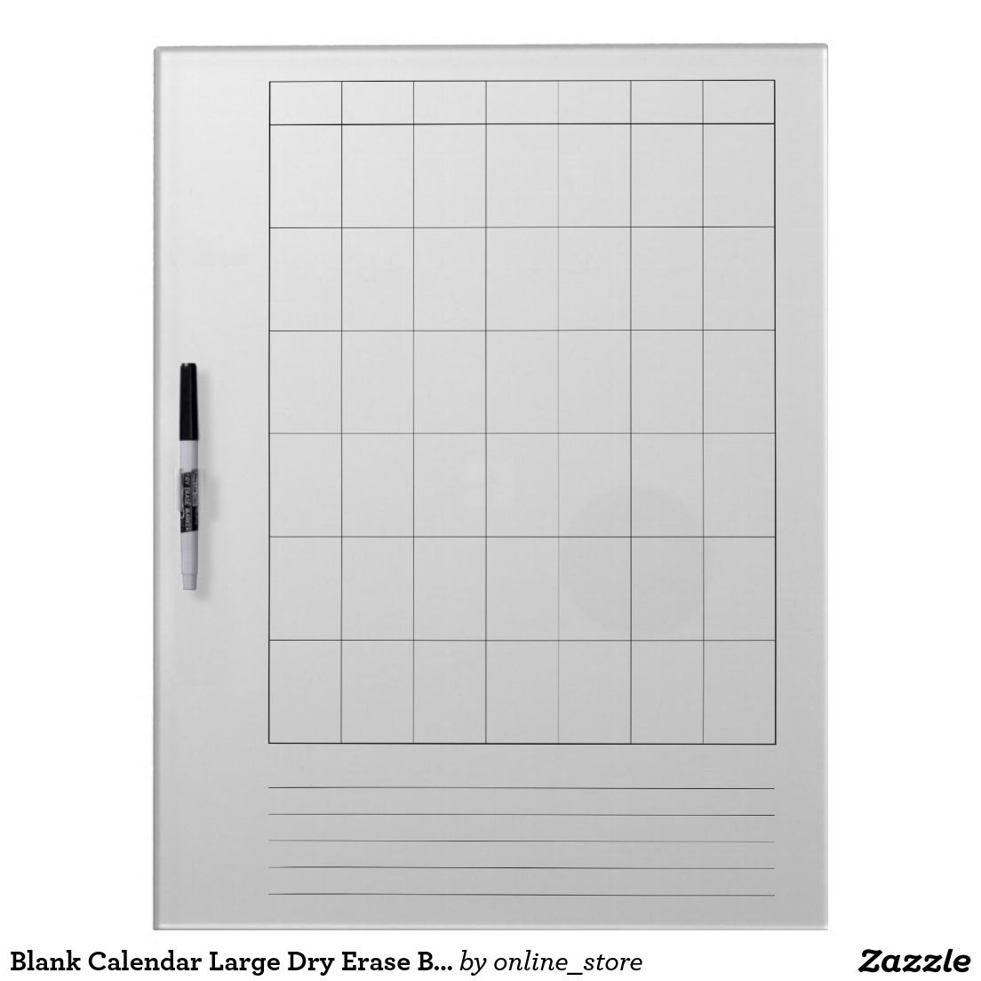 Blank Calendar Large Dry Erase Boards With Pen   Zazzle and ...