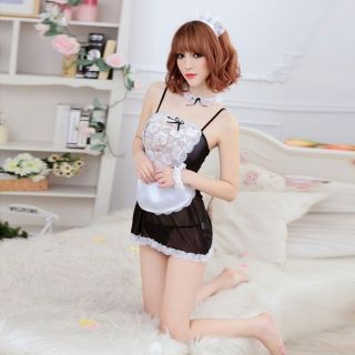 c41d9d66257 Sexy Maid Style Sheer Lace Servant Girl Nightwear Cosplay Costume Black    White