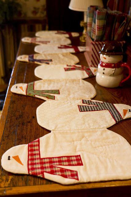 Cute Snowman Christmas Table Runner