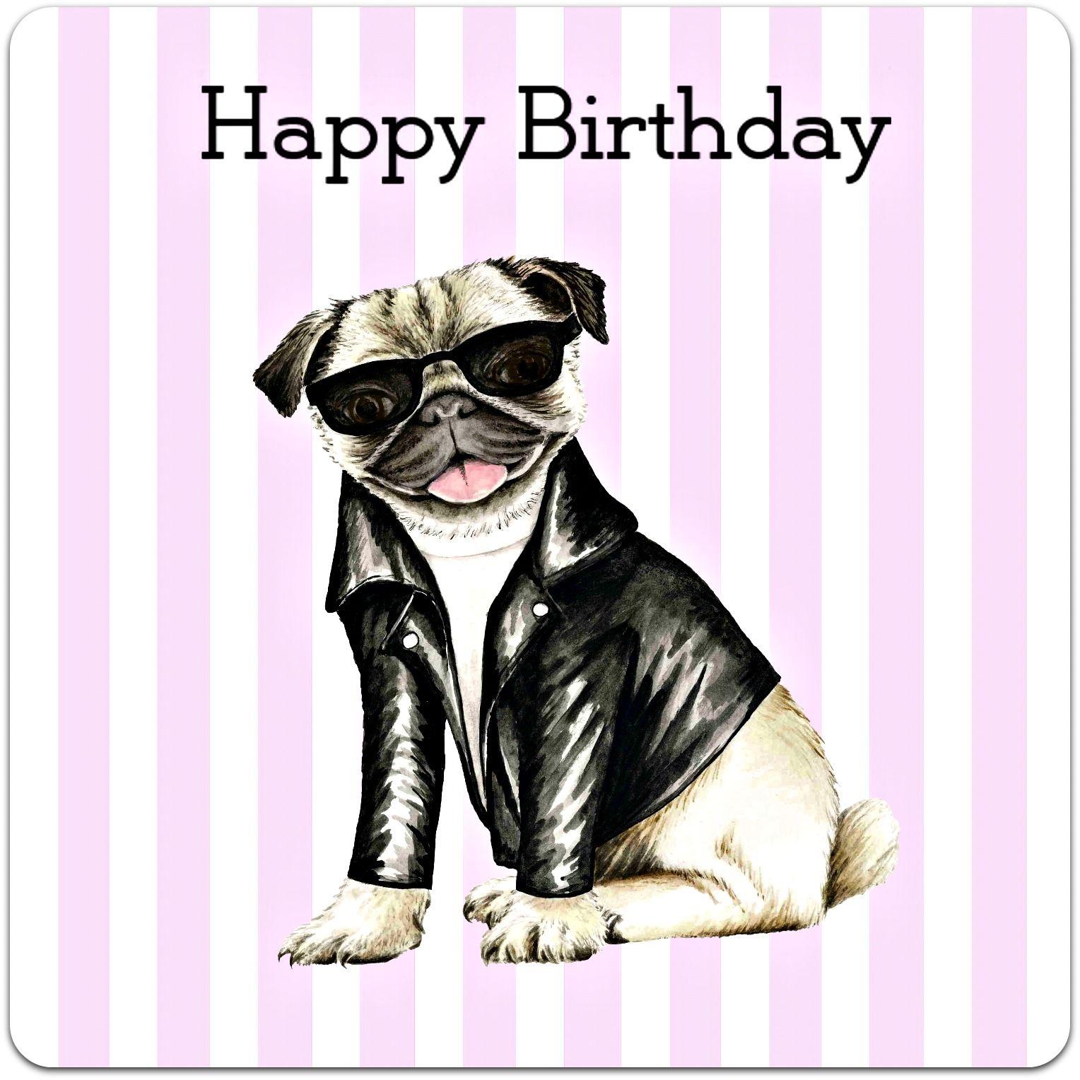 Happy Pug Birthday Handmade Card Card Bubble Pinterest Birthdays