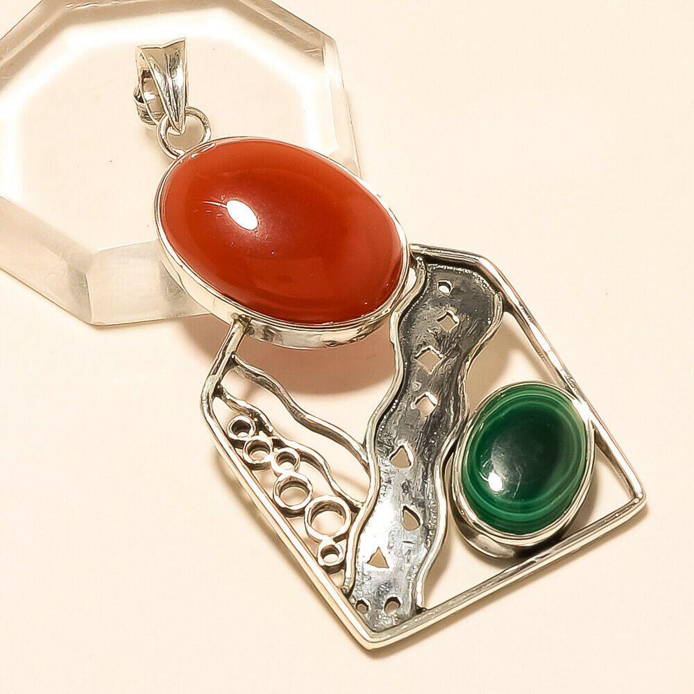 FREE GIFT BOX Botswana Agate Women 925 Sterling Silver Pendant