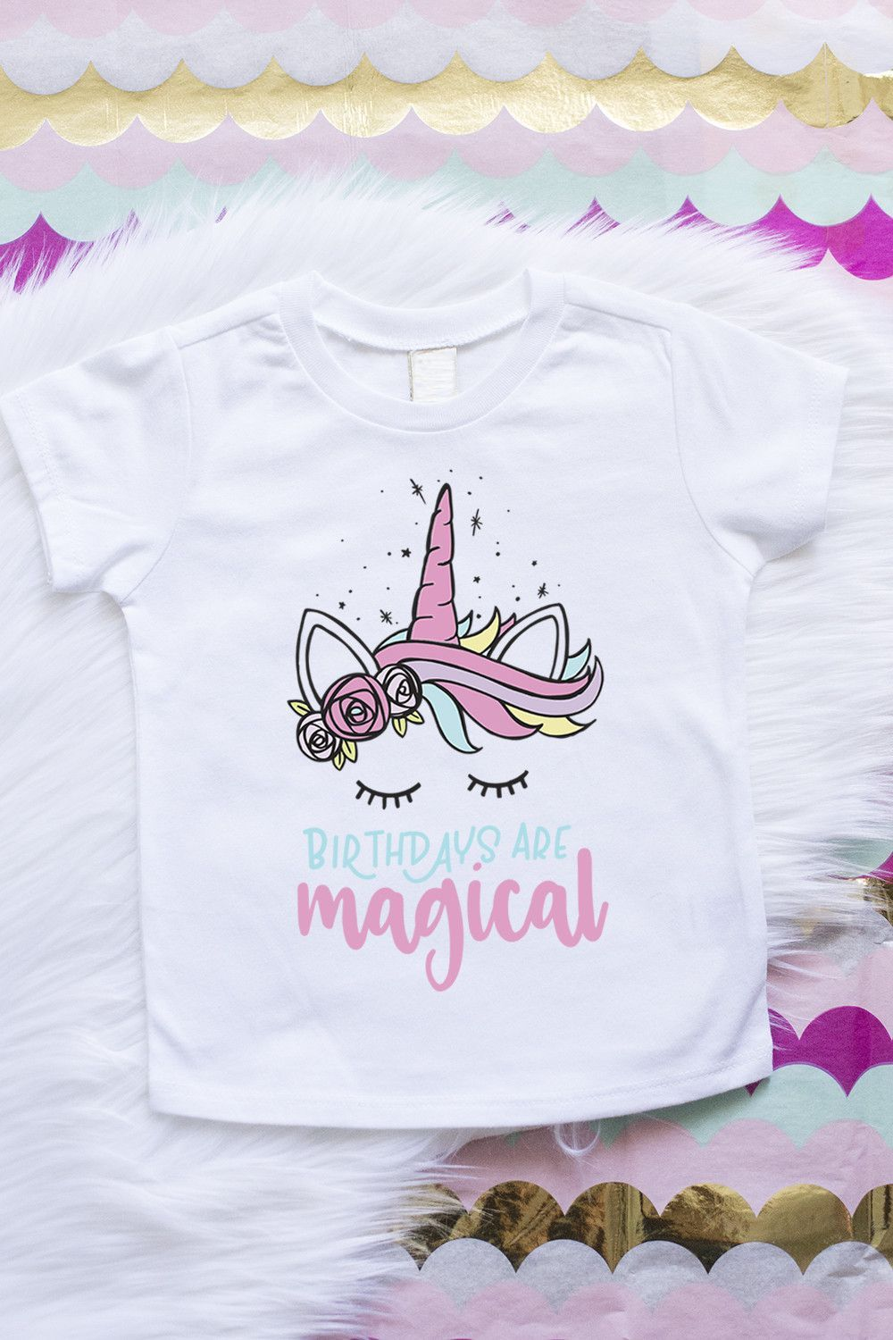 Unicorn Girls Birthday Theme Pink Shirt First Second Third Fourth And Fifth Party